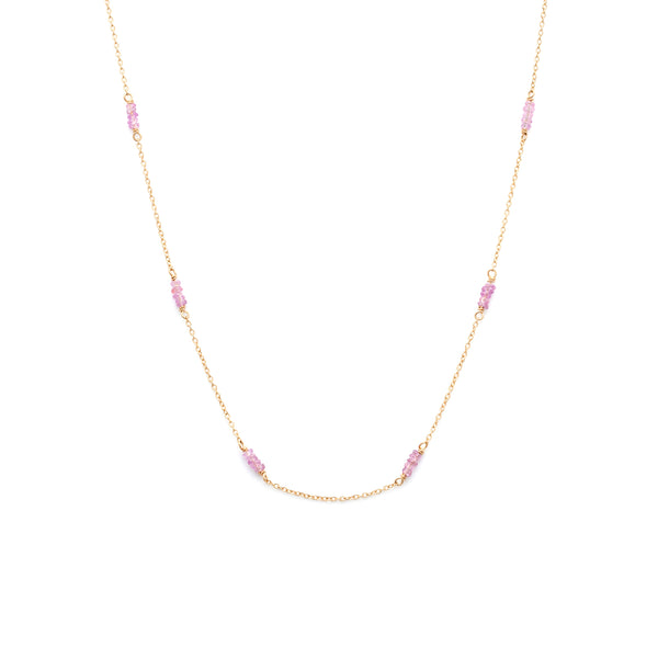 Strand Necklace | 14k Gold & Pink Sapphire