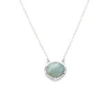 Anni Silver Necklace, Aquamarine, CZ, Necklace on white background