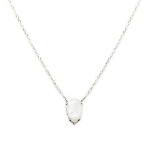 Asana Silver Necklace, Moonstone, jewelry on white background