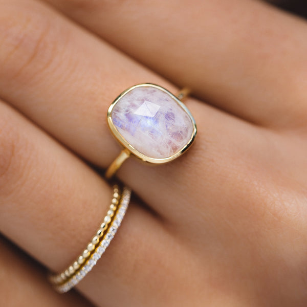 freeform moonstone gold ring