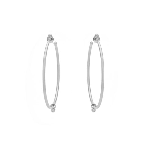 Sterling silver Adrienne Hoops with CZ gem