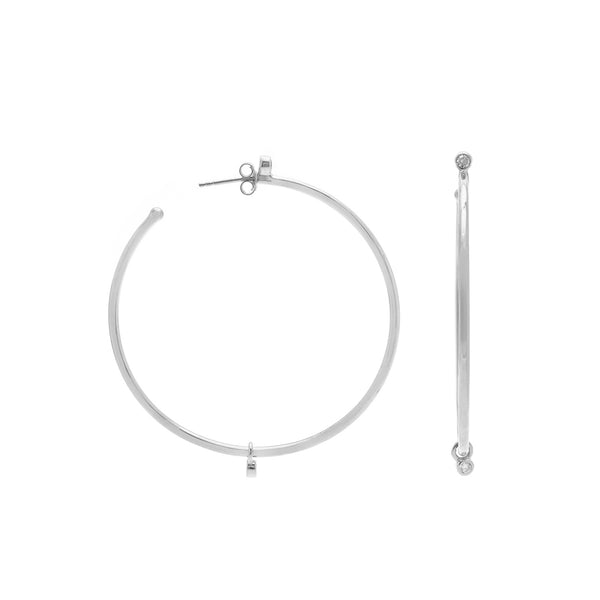 CZ studded sterling silver Adrienne hoops