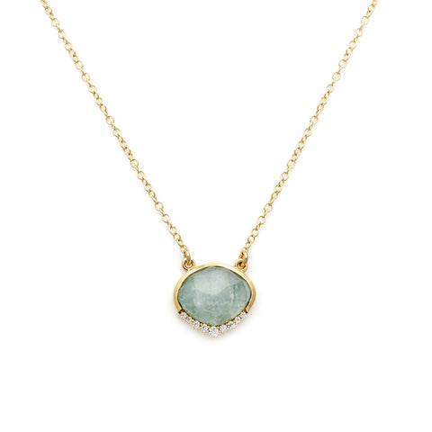 Anni Aquamarine Necklace, Gold, CZ, nekclace on white background