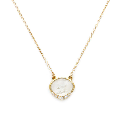 anni moonstone necklace, gold, fancy necklace, necklace on white background