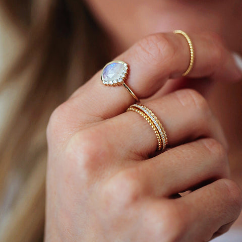 Anni Moonstone Pave Crescent Ring