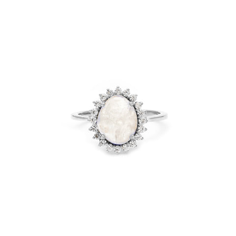 Silver moonstone lady dianna ring