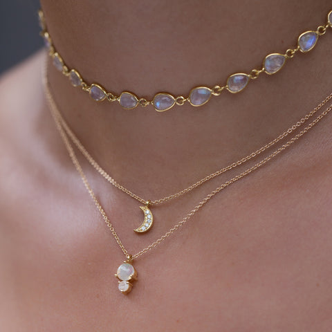 aria choker, moonstone necklace, layered necklaces, tan skin