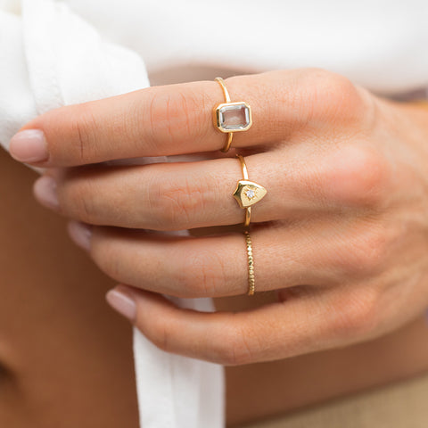 gold hammered bead ring