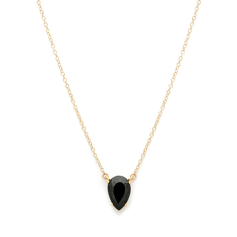 leah alexandra black onyx gold gemstone necklace