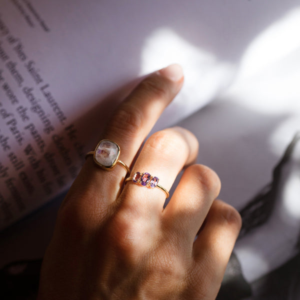 moonstone and amethyst gold rings