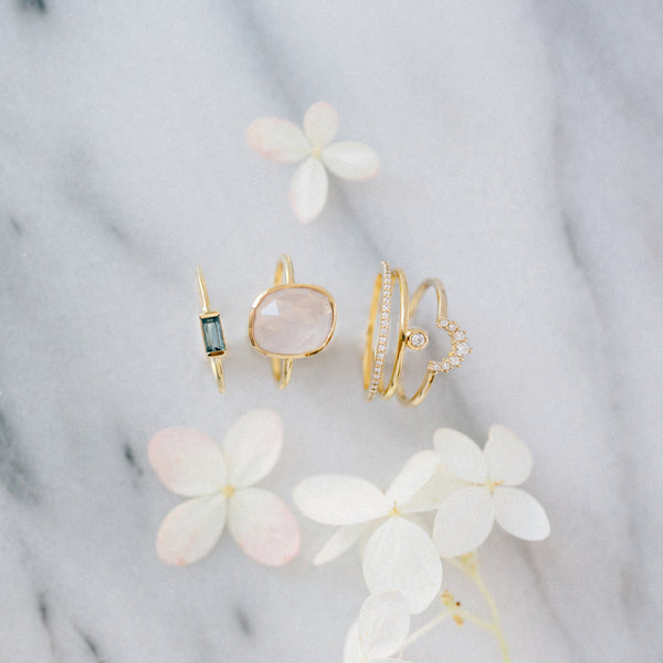 leah alexandra rose quartz gold freeform ring