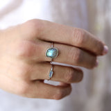 sterling silver labradorite large freeform cut ring