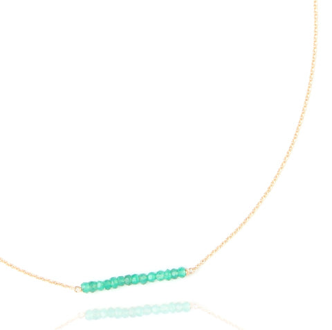 Bar necklace in green onyx and gold