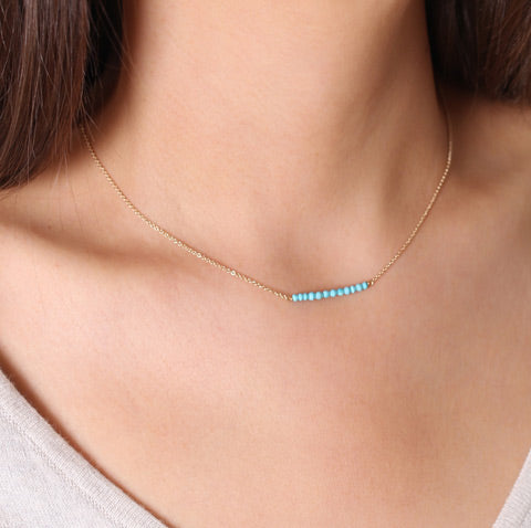 Turquoise gold filled bar necklace