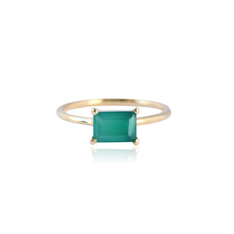 BAGUETTE GREEN ONYX RING