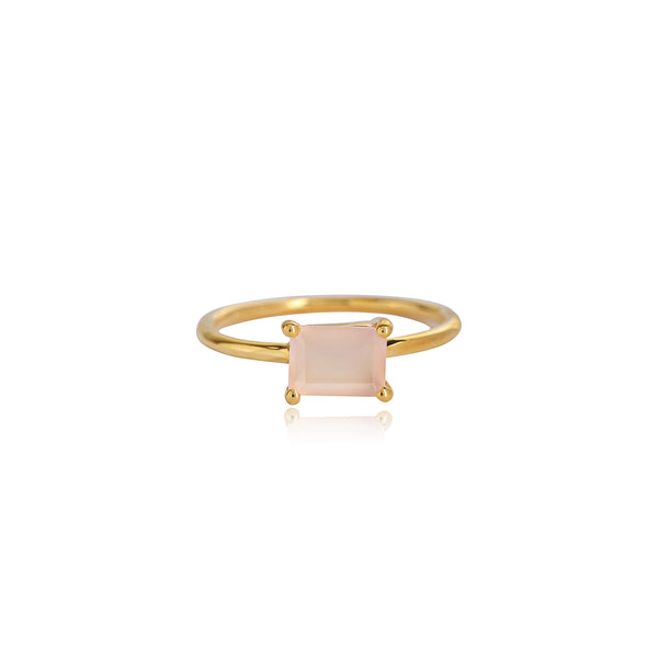 BAGUETTE PINK CHALCEDONY RING