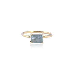 Baguette Aquamarine Gold Ring