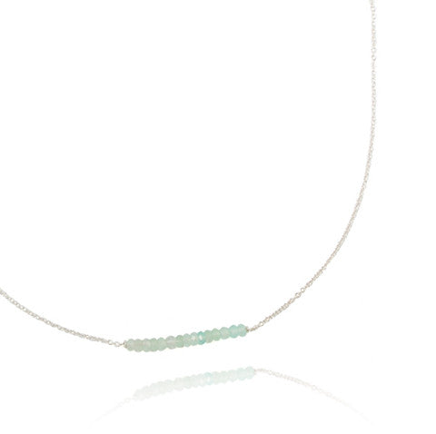 Aqua Gemstone Bar Necklace