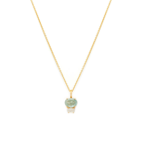 French Inspired Aquamarine and Gold Bijou Necklace