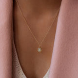 Cabochon Opal Necklace 14K Gold by Leah Alexandra