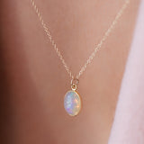 14K Gold Opal Cabochon Necklace by Leah Alexandra