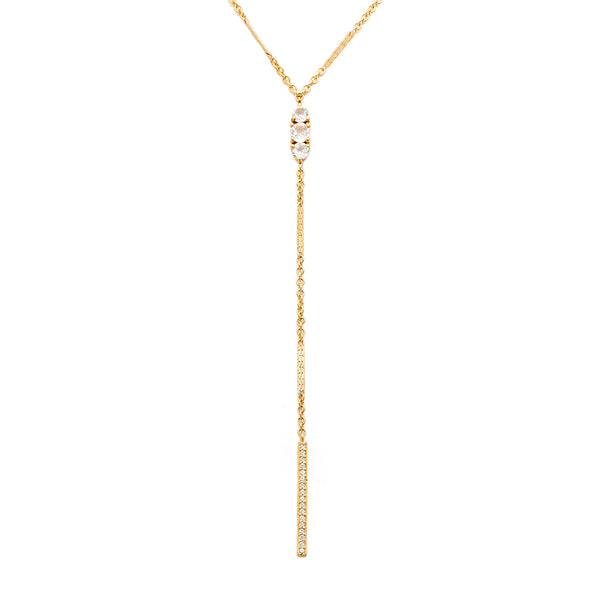 circa necklace, lariat necklace, gold, white topaz, long necklace, jewelry on white background