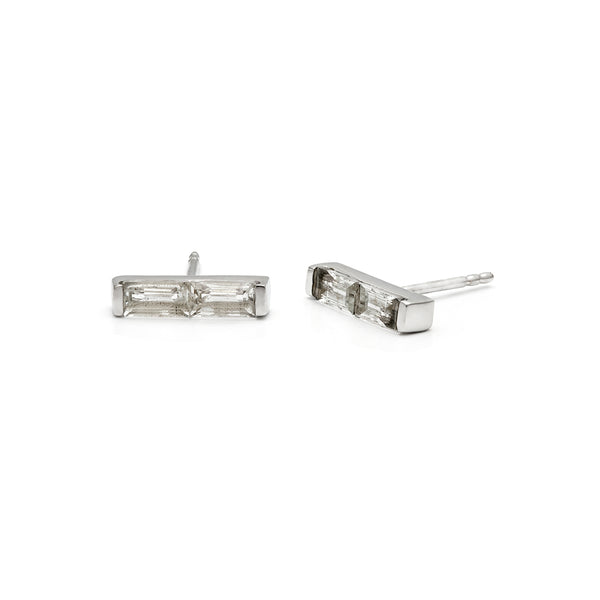 leah alexandra baguette moonstone sterling silver channel bar studs