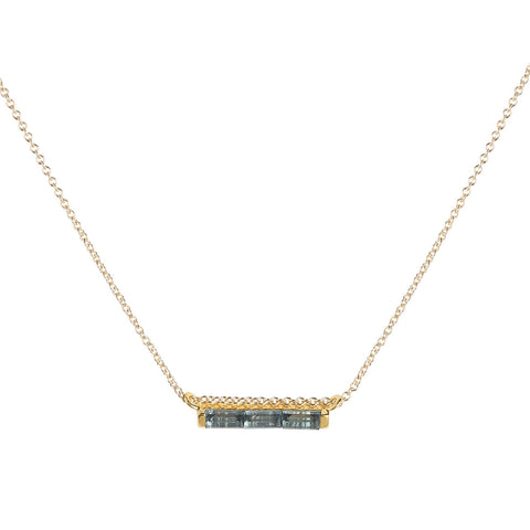 Channel Necklace, London Blue Topaz, Gold, Jewelry on white background