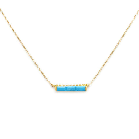 Channel Turquoise Necklace, gold, jewelry on white background