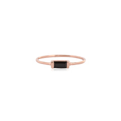 Black Garnet and Rosegold Channel Ring