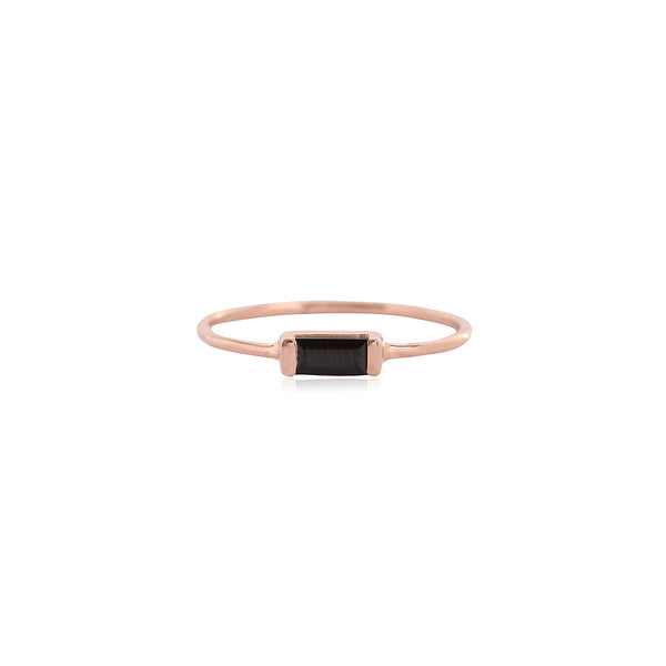 Channel Ring | Black Garnet
