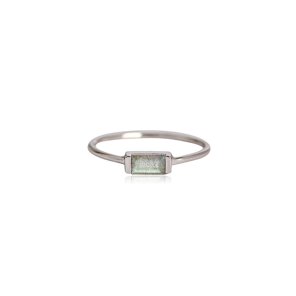 labradorite sterling silver baguette style stacking ring