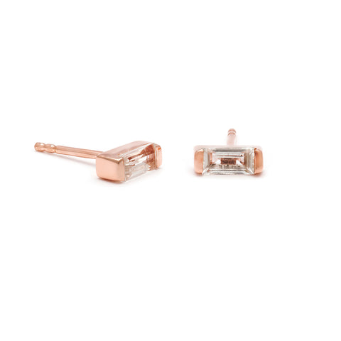 leah alexandra white topaz baguette channel studs rosegold