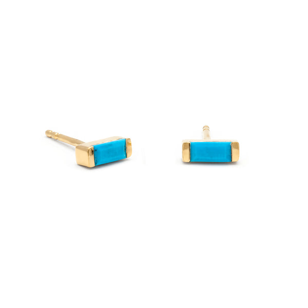 leah alexandra gold baguette channel studs turquoise