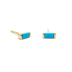 Channel Set Turquoise Studs