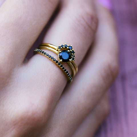 Leah Alexandra gold black garnet stacking rings