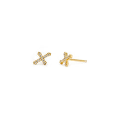 Cross Studs | Gold