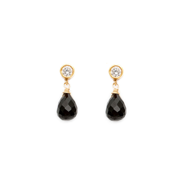 leah alexandra black onyx gold drop stud post earrings