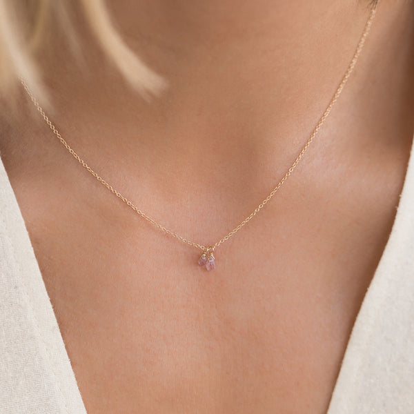 Pink Sapphire Duet Necklace in 14K Gold