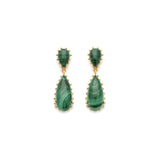 Gold and Malachite Statement Damas Earrings
