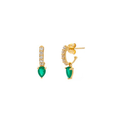 Demi Gem Hoops | Green Onyx