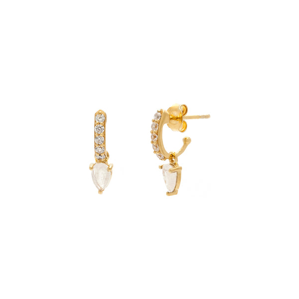 Enchanting Gold and Moonstone Demi Gem Hoops