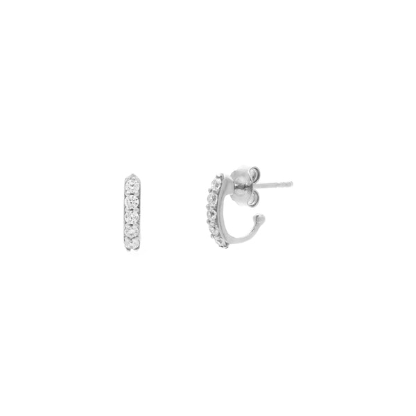 Sterling Silver and CZ Demi Huggie Hoops