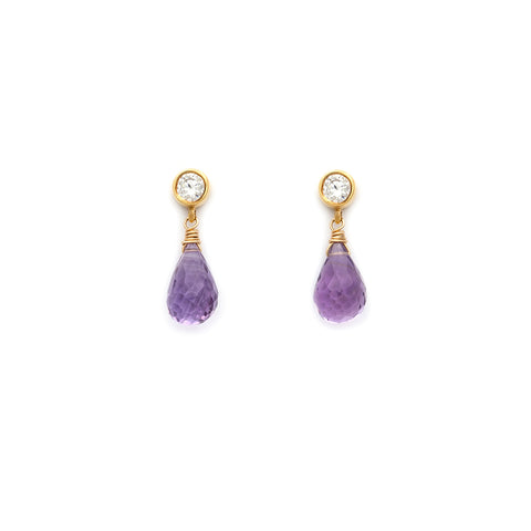 leah alexandra amethyst gold drop stud post earrings