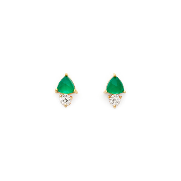 Sparkling Green Onyx and CZ Studs