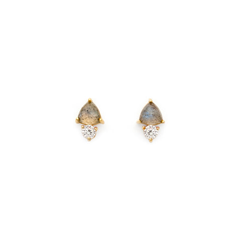 Labradorite and CZ Gem Studs
