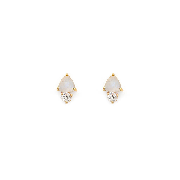 Stunning Moonstone and CZ Studs