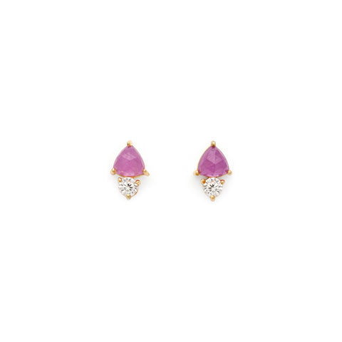 Glittering Pink Sapphire and CZ Gold Studs