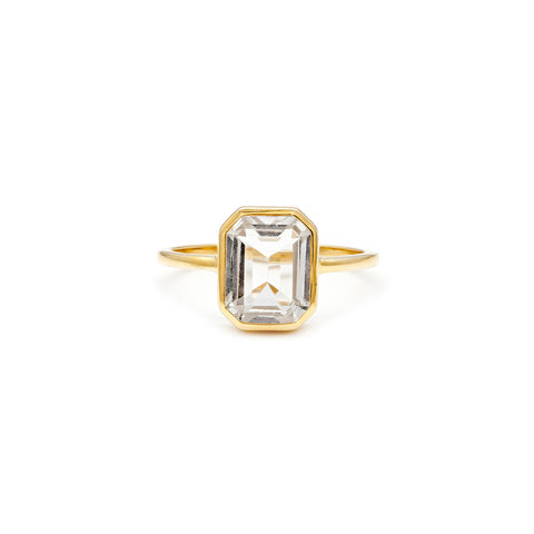 Leah Alexandra gold white topaz emerald cut ring