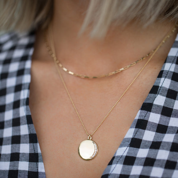 leah alexandra gold coin necklace eclipse necklace